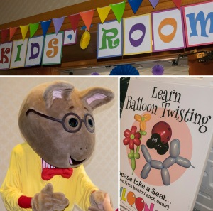 Kids' Room with costumed characters, crafts, stories, more
