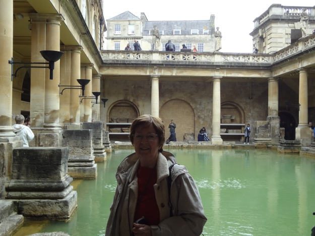 Here I am at the 2000-year-old Roman spa in Bath, England.