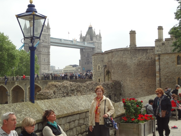 This is the Tower Bridge taken from inside the Tower of London. The Crown Jewels of British royalty are on display in the Tower.