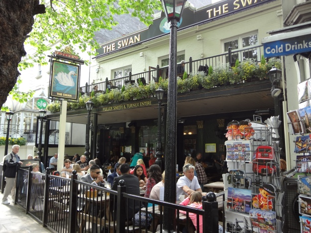 You can find delicious fish -n-chips at The Swan, a popular pub in London.