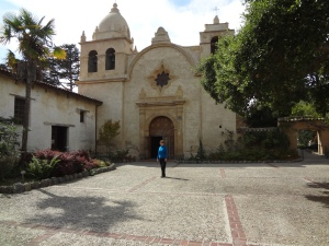 The Carmel Mission Chapel with bell towers